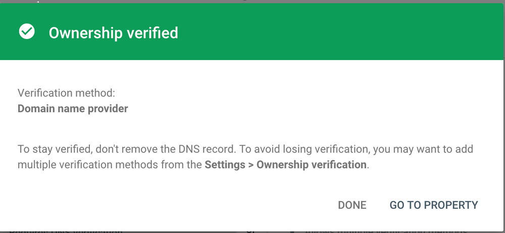 Google search console verified correctly dialog box.