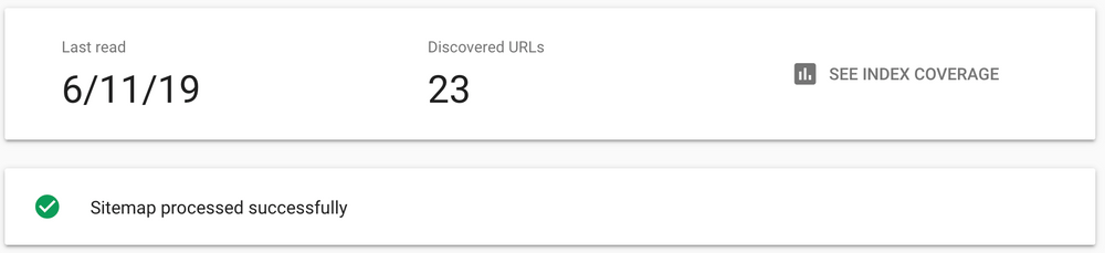 Google search console sitemap coverage.
